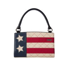 AMERICANA - CLASSIC  Show your patriotic side and great taste in fashion with the Americana Shell for Classic Miche Bags. Lightly-textured faux leather in rich antique cream is complemented by diamond-patterned contrast stitching, red and blue accents and star cut-outs. Perfect for watching fireworks or for any occasion where you want to show off the red, white and blue.     Base Bag and Handles not included    www.bagsbylaurie.miche.com  Price:  $24.95