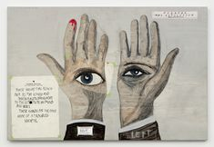 """Marcel Dzama and Raymond Pettibon, """"Forgetting the hand"""" (2016), pencil, ink, watercolor, gouache, spray paint, collage, and gesso on wood panel 24 x 36 x 3/4 in (all images courtesy David Zwirner, New York/London)"""