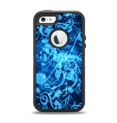 The Glowing Blue Music Notes Apple iPhone 5-5s Otterbox Defender Case Skin Set