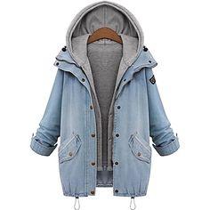 sudadera con capucha de solapa más el tamaño de mezclilla capa de las mujeres - USD $ 41.39