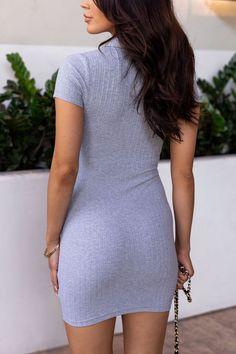 Secrets Heather Grey Ribbed Zipper Dress by Priceless Cool Girl Style, Short Sleeves, Short Sleeve Dresses, Blush Dresses, Black Purses, Cotton Spandex, Rib Knit, Heather Grey, Girl Fashion