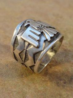 Rings 98500: Sunshine Reeves Navajo Sterling Silver Thunderbird Cigar Band Ring Sz 8 1/2 BUY IT NOW ONLY: $229.0