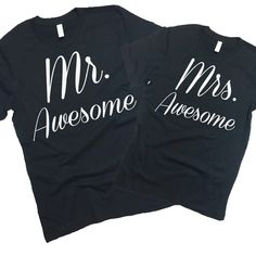 e10095d92fa Mr. and Mrs Awesome T Shirts Hubby Wifey Tee. by StatementTshirts  Engagement Gifts