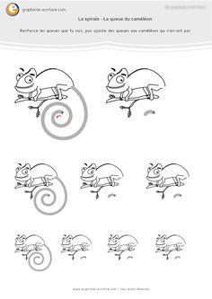 Graphisme MS Les spirales : Créer une queue de caméléon