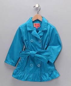 Take a look at this Vivid Blue Ruffle Trench Coat - Toddler   by Dollhouse on #zulily today!