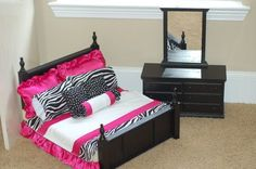 American Girl doll furniture with zebra and hot pink satin bedding.  Bed and dresser with mirror.  https://www.facebook.com/pages/Keepers/123865814323216