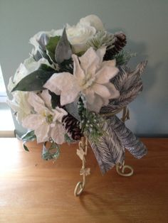 Wedding Bouquet in Winter White by LCFloral on Etsy, $85.00