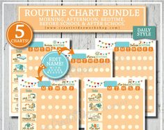 Routine Chart BUNDLE | 5 DAILY Charts | Morning, Afternoon, Bedtime, Before School and After School | Orange | Children's Charts | Chores Kids School Organization, Online Fun, Routine Chart, All Fonts, Children And Family, After School, Free Items, Bedtime, Printables