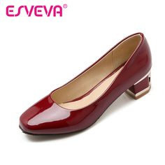 ESVEVA Rhinestone Thick High Heel Round Toe Woman Pumps Spring PU Leather Shoes Slip on Ladies Fashion Wedding Shoe Size 43-43