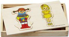 Mickin palapeli, jossa vaihdetaan vaatteita Pepille, Tommille ja Annikalle. Palapelissä neljä erilaista Peppi-hahmoa, yksi Tommi ja yksi Annika. Palat säilyvät siististi upeassa puulaatikossa. Laatikon koko: 24 x 14 x 3 cm