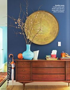 Wall Art DIY Projects - The Cottage Market....I love this as I have this blue in the house, and could imagine making a painted gold full moon picture if I can't find a tray to re purpose!