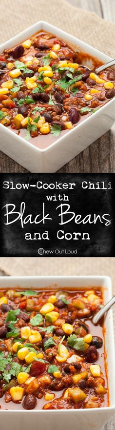 Slow Cooker Chili with Black Beans and Corn - Not much else comes close to a hearty, healthy, deeelish pot of chili. Perfect for game days and cold nights. recipes for slow cooker Slow Cooker Chili, Slow Cooker Recipes, Crockpot Recipes, Cooking Recipes, Healthy Recipes, Healthy Chili, Quick Recipes, Quick Meals, Healthy Meals