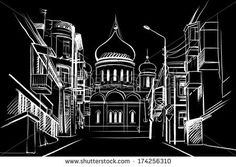 Architectural sketch of white ink and pencil on black paper. Plein Air, cityscape. White lines on the black background. Perspective view of the street with the Russian Orthodox church. Christian