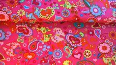 Baumwollstoff Popeline Blumen pink bunt von Meterware Stoffe günstig kaufen auf DaWanda.com