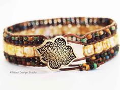 Beaded Leather Wrap Bracelet Triple Row by AlliecatDesignStudio, $40.00
