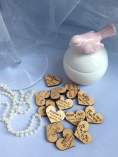 100 personalised wooden heart favours £18.99