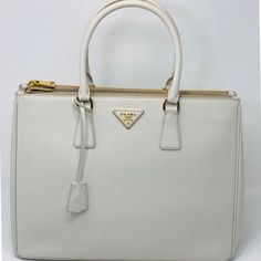081fbd8a5e91 Prada Double Lux Saffiano Large Zip Tote Chalk Leather Satchel - Tradesy  Leather Satchel, Prada