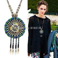 Vintage Turquoise Beads  Bohemian Tassel Necklace