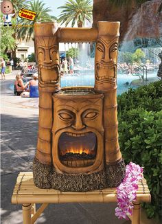 This Aloha Fire & Water Totem Water Fountain will give off relaxational vibes no matter where its placed. Place it in your spa room, house, tiki bar, tiki hut, tiki lounge by the pool or with your current garden decor. Makes a wonderful conversational piece when hosting tiki parties or events. Stand out with this Hawaiian inspired tiki statue.  Click the following link for more information: http://www.shoppingsated.com/store/p23/Aloha_Fire_%26_Water_Totem.html
