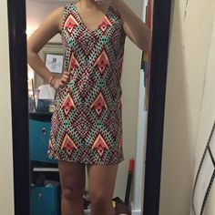 Red Dress Boutique Geo Print Shift Dress - Small Very cute colorful geo print shift dress from Red Dress Boutique. Only worn once - great condition! Size small Red Dress Boutique Dresses