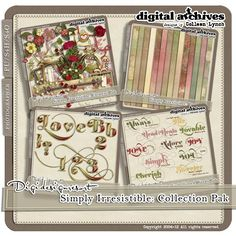 The Simply Irresistible Collection Pak includes 14 papers, 91 element items, 66 embellished word items and 106 alphabet items. Save a whopping 35% when you buy the collection pak!  http://www.digidesignresort.com/shop/designers-colleen-lynch-c-1_216/simply-irresistible-collection-pak-s4h-by-colleen-lynch-p-13646