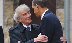 Barack Obama embraces Elie Wiesel as they visit the camp at Buchenwald near in the eastern German city of Weimar.