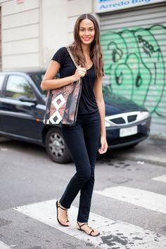 STREET STYLE SPRING 2013: MILAN FW - Joan Smalls wears all black and a major Givenchy bag.
