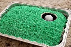 Golf-themed hole-in-one cake. Perfect for Father's Day or a golf lover any time of the year!