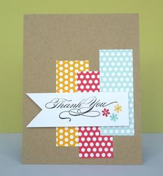 By Stephanie Wincott. Designer paper rectangles on kraft paper card base. Add sentiment, flowers, & bling.