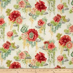 Designed by Flaurie & Finch for RJR Fabrics, this whimsical floral cotton print is perfect for quilting, apparel and home decor accents. Colors include plum, shades of green, pink, grey, coral, yellow, teal and white with gold metallic accents.