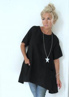 SIMPLE Linen tunic, BLACK