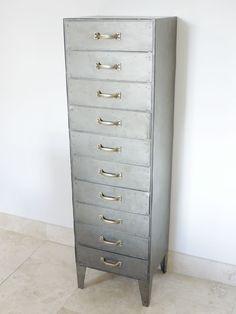 Vintage Industrial Metal Tallboy 10 Draw Retro style Storage Furniture 4109