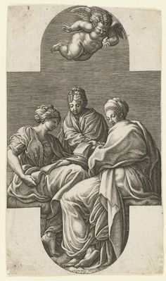 Giorgio Ghisi (Italian, 1520 - 1582), After: Francesco Primaticcio (Italian, 1504 - 1570), Three Muses and a Gesturing Putto, n.d. Engraving. Plate: 29 x 16.5cm (11 7/16 x 6 1/2in.), Walter R. Callender Fund. Yale University Art Gallery, 1969.65.3d. Photo credit: Yale University Art Gallery.