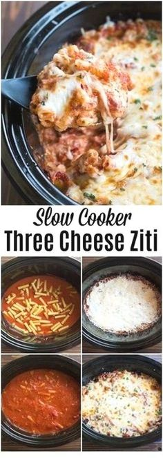 This awesome Slow Cooker Three Cheese Ziti is the perfect for weeknight family dinners and for game day bites! // CLICK PIN TO SEE DETAILS // Crockpot Recipes, Crockpot Meals, Crockpot , Cr Easy Pasta Dishes, Easy Pasta Recipes, Healthy Crockpot Recipes, Slow Cooker Recipes, Beef Recipes, Easy Meals, Cooking Recipes, Crockpot Meals, Pasta Ideas