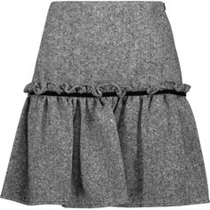 Raoul - Badia Velvet-trimmed Ruffled Wool-blend Tweed Mini Skirt ($85) ❤ liked on Polyvore featuring skirts, mini skirts, black, ruffle mini skirt, short ruffle skirt, short skirts, polka dot skirt and patterned skirts