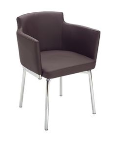 """Sunpan Garcia Swivel Chair, Comfortable, contemporary design works well as either a dining or occasional chair; features soft faux leather with chrome finished steel frame and legs; 26"""" arm height and 17.5"""" seat height"""