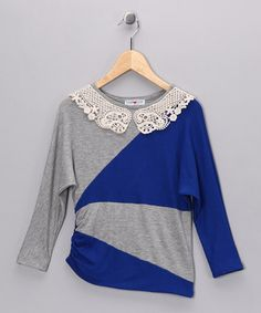 Take a look at this Gray & Blue Color Block Top - Girls by Sweetheart Jane on #zulily today!