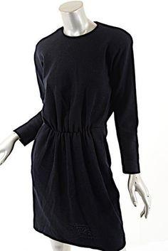 DONNA KARAN NY Vintage Navy Wool Crepe/Knit Pin-tuck Pleated Waist Dress - US 10 #DonnaKaranNY #Pintuckwaistline #Casual