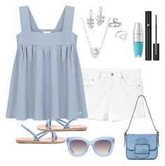 """""""Cool Blue Summer"""" by kimchk ❤ liked on Polyvore featuring Gap, Ancient Greek Sandals, Tory Burch, EF Collection, Dower & Hall, Jordan Askill, Lancôme and Alice + Olivia"""