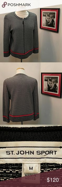 """St John Sport M Black/White Checkered Jacket St John Sport M Black and White Checkered Jacket with red """"stripe"""" accent in great pre-owned condition! Great for a night on the town! St. John Sport by Marie Gray Jackets & Coats"""
