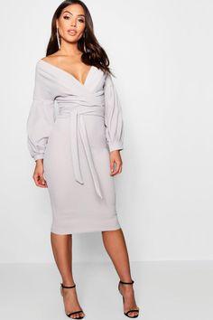 boohoo Off The Shoulder Wrap Midi Bodycon Dress Yellow Dress, Gray Dress, Dress Up, Bodycon Dress, Casual Summer Dresses, Modest Dresses, Short Dresses, Skater Dresses, Maxis