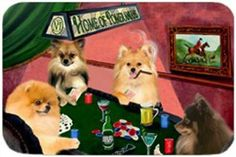 "Home of Pomeranians Large Cutting Board 4 Dogs Playing Poker by Doggie of the Day. $39.99. 15.74"" x 11.8"" x 5/32"". Dishwasher Safe. Please Allow 4 Days to Ship. Tempered and Durable. Spice up your kitchen with a Pomeranian cutting board! These cutting boards are perfect for home chef's and restaurant owner's alike. This is a specially coated glass cutting board that is durable and dishwasher-safe."
