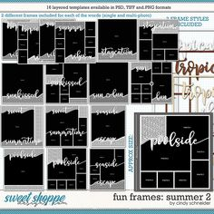 Cindy's Layered Templates - Fun Frames: Summer 2 by Cindy Schneider Frame Template, Layout Template, Drop Shadow, Scrapbook Templates, Summer Photos, Page Layout, Digital Scrapbooking, Frames, Sketch