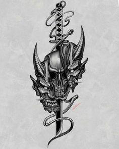 Oni Tattoo, Hanya Tattoo, Wolf Tattoo Sleeve, Sword Tattoo, Forearm Sleeve Tattoos, Tiger Tattoo, Small Japanese Tattoo, Japanese Tattoos For Men, Japanese Tattoo Designs