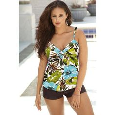 dab2c07149a Sea Hibiscus Tie Front Boy Shortini - swimsuitsforall Floral Tie