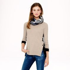 J. Crew sweater Tan and black // button up sides // elbow patches // worn once J. Crew Sweaters Crew & Scoop Necks