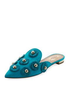 Aquazzura Sunflower Studded Mule Slide In Blue Metallic Flats, Metallic Leather, Malone Souliers, Peacock Blue, Aquazzura, Luxury Fashion, Slippers, Heels, Shopping
