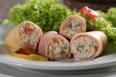 Ham and Cheese Cottage Rolls - Types of Cheese 1001 Canapes Gourmet, Cottage Roll, Cottage Cheese, Mexican Food Recipes, Healthy Recipes, Ethnic Recipes, Healthy Food, Ham Rolls, Best Meal Delivery