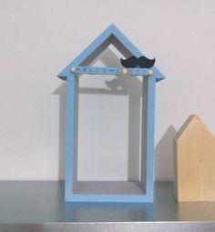 "Wooden house shelf ""Welcome baby"", baby born, birthday, boy, girl, room decor by PINKandBLUE4kids on Etsy"