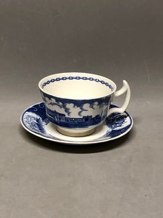 Wedgwood Barlaston US Naval Academy Footed Cup & Saucer Blue and White Panoramic View USNA by Anaforia on Etsy Tea Cup Set, Cup And Saucer Set, Tea Cup Saucer, Naval Academy, China Tea Cups, Votive Candles, Wedgwood, Fine China, Handmade Items